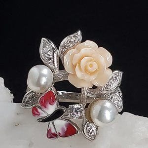 Floral Solid Sterling Silver 925 Ring